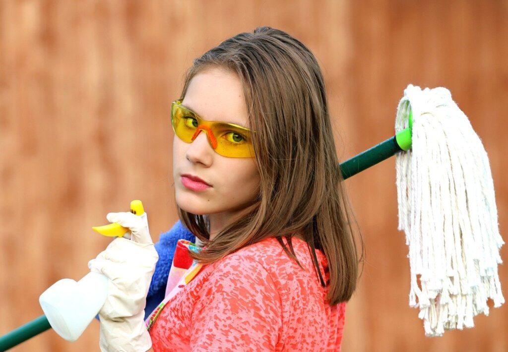 girl, glasses, mop